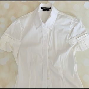 White pleated sleeve BCBG maxazria dress shirt